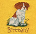 Brittany puppy embroidery